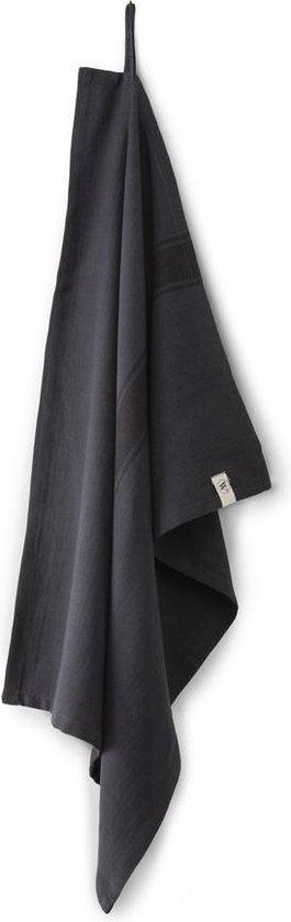 4x Fraaie Katoen Theedoeken Lines Zwart | 50x70 | Vochtabsorberend | Hoogwaardige Kwaliteit