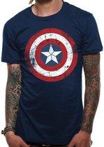 Captain America - Cracked Shield Mannen T-Shirt - Blauw - XXL