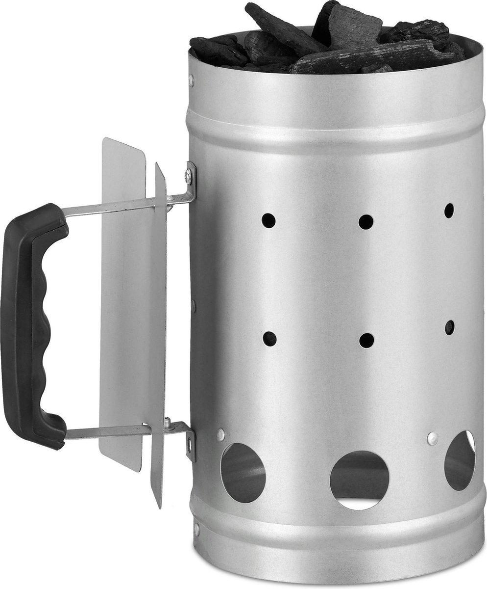 relaxdays brikettenstarter - BBQ starter - houtskool starter - barbecue starter - zilver