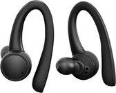 Sonume Sport - Volledig Draadloze Oordopjes - Met Siliconen Oorhaak - Waterproof - Bluetooth oordopjes voor Hardlopen, Fietsen en Fitness - Zwart