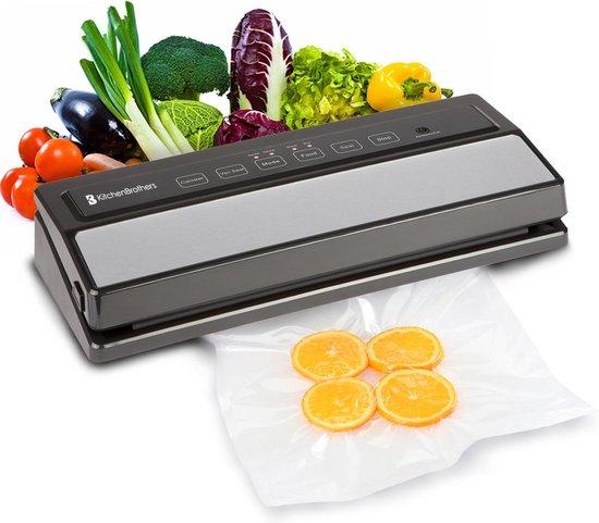 KitchenBrothers Vacumeermachine - Vacuüm Sealer Keuken Apparaat - Met Folie Rol (200 cm), Zakken (5x) en Vacuümslang - 4 Standen - Machine Geschikt voor Groente / Vlees / Vis / Wijn Pomp / Eten / Sous Vide - Zwart