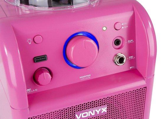 Karaoke set - Vonyx SBS50P Roze karaoke set op accu met Bluetooth, microfoon met echo effect en LED lichteffect - Direct zingen of feesten!