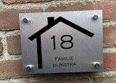 Naambordje voordeur 15 x 20 cm RVS look nummer en naam in huis