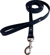 Honden riem - 140cm – zwarte riem - leren hondenriem met stiksels – 100% volnerfleer - hond