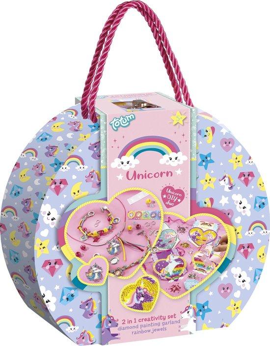 Totum unicorn 2 in 1 speelgoed cadeaukoffertje - 2 knutsel activiteiten : armbandjes maken en diamond paint kaartenslinger