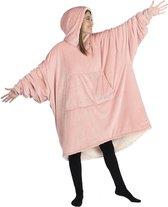 One size hoodie blanket - Deken met mouwen - Sherpa - Roze