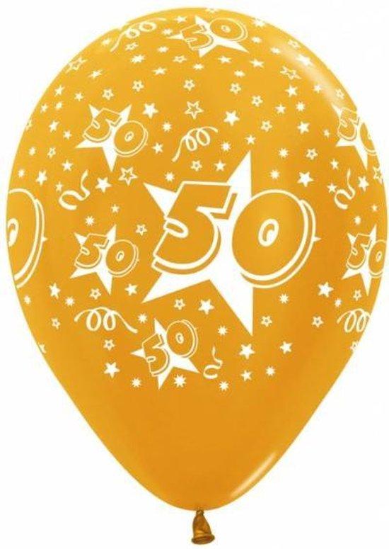 Gouden 50 jaar ballon, jubileum, feest, verjaardag, goud, wit, versiering