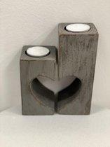 Waxine houder hart set 2 15x12 antique grey