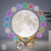 FOOCCA Maanlamp 3D - 15 cm - Tafellamp - Accu 15 tot 89 uur - Maan Lamp met 16 dimbare LED kleuren en Afstandsbediening - Extra Realistisch - Sfeerlamp, nachtlamp en leeslamp