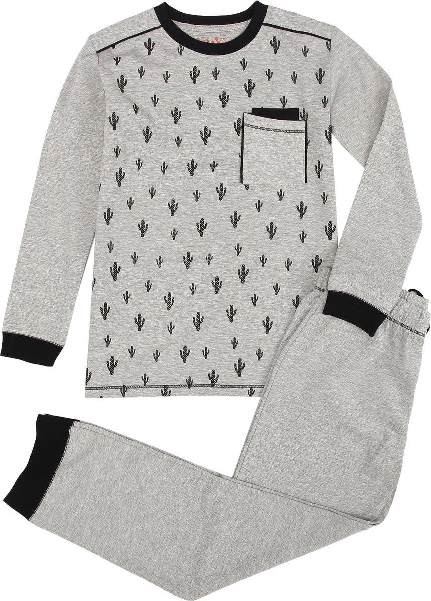 La V pyjama sets voor jongens met all over print Grijs 170-176
