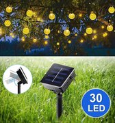 Verlichting Snoer op zonne energie Warm Wit Kristal - Solar 30 Led lampjes - 6,5 meter - Ø2,5 cm - Buiten - Tuinverlichting  - Party Lichtslinger Lichtsnoer - Gadgetpanda