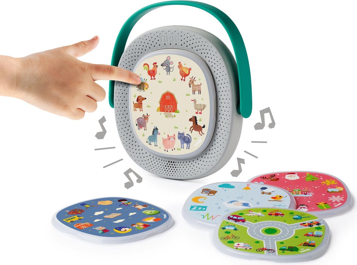 TIMIO Educatieve audio- en muziekspeler met 5 disks voor het leren van woordjes, liedjes en verhalen
