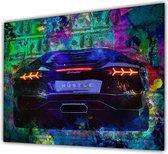 Hustle Lamborghini graffiti Style / canvas Poster 100x70 (Excl rand gemeten)  ''Mirror-Edge'' rand voor gekleurde zijkant / hoge kwaliteit