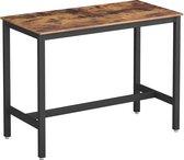 VASAGLE bartafel, stabiele bartafel, tafel voor cocktails, keukentafel, 120 x 60 x 90 cm, metaal, eenvoudige montage, industrieel ontwerp, vintage bruin-zwart