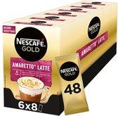 Nescafé Gold Amaretto Latte oploskoffie - 6 doosjes à 8 zakjes
