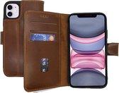 Lelycase Echt Lederen Booktype iPhone 11 hoesje - Roestbruin