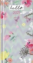 Agenda Flowers Grijs - Pocket 2021 - 8,5x15,5cm - 1week/2pagina - Hardcover