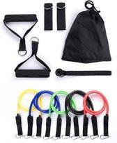 Thuis sporten -  Weerstandbanden set van 5 Resistance Banden - Fitness elastiek - Full body trainer - Sport banden - Thuis trainen - db SKILLS - deuranker-  Nu met een GRATIS opbergtasje