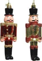 2x Kerstboomhangers notenkrakers poppetjes/soldaten 9 cm - Kerstboomversiering kerstornamenten/kersthangers