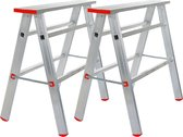 Euroscaffold Aluminium Schraag set 2 stuks | Max belasting 330 per schraag | EN131 | Werkbank | Zaagbok | Klapschraag | Werkbordes | Antislip profiel | 6 KG per schraag