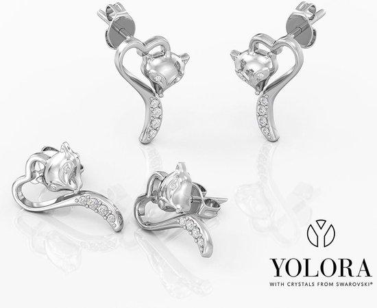 Yolora dames oorbellen met Swarovski kristallen – Witgoud verguld – YO-202
