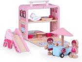 LOEF - draagbare poppenhuis - met glijbaan 'Candy house' - draagbaar - duurzaam speelgoed - eco+
