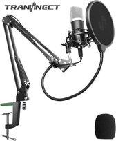 BM800 - Condensator Studio microfoon met Arm Schuimhoes, Schokdemping Popfilter en Ingebouwde Geluidskaart - microfoon voor pc