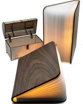 Boeklamp Hout Inclusief Boeklampje/Leeslampje met klem - Met 5 lichtkleuren en Dimfunctie - USB oplaadbaar- Boek lamp Walnoot bruin hout 21.5x17 cm