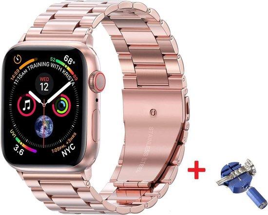 Luxe Metalen Armband Voor Apple Watch Series 1/2/3/4/5/6/SE 42/44 mm Horloge Bandje - iWatch Schakel Polsband Strap RVS - Met Horlogeband Inkortset - Stainless Steel Watch Band - One-Size - Rosegoud Kleurig