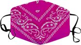 Mondkapje Paisley - Wasbaar - Katoen - Herbruikbaar -Roze bandana patroon