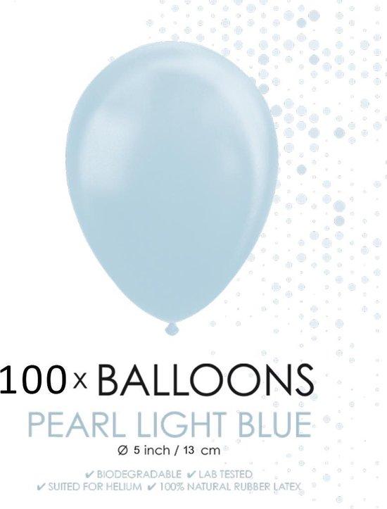 100 Kleine ballonnen parel lichtblauw.