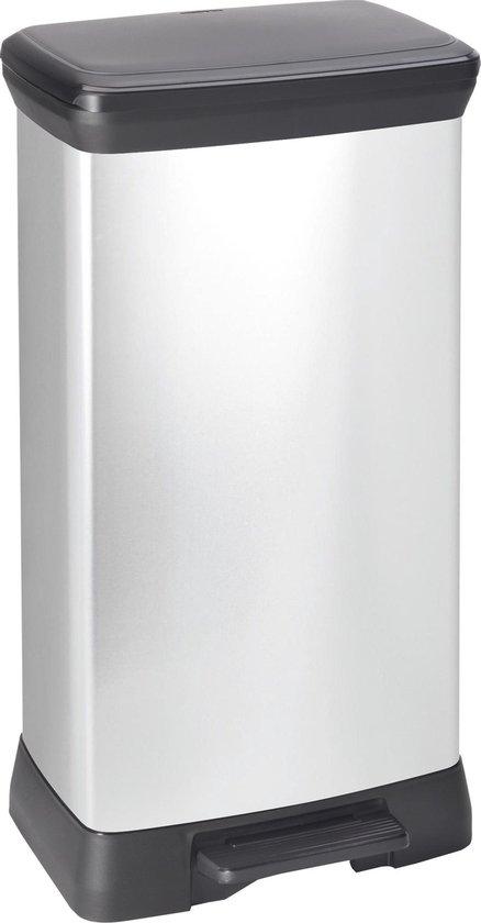 Curver Decobin Prullenbak - Rechthoekig - 50L - Metallic - Recycled Kunststof