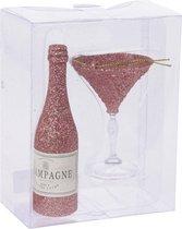 1x Kerstboomversiering setjes roze glitters champagne fles en glas - Kerstversiering/kerstdecoratie kerstornamenten drank