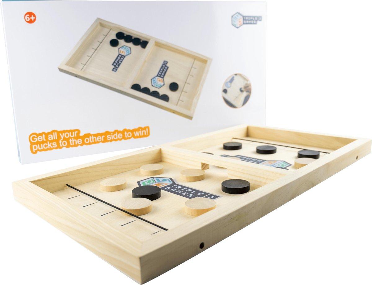 Slingpuck XL   Bordspel   Sjoelbak met elastiek   Houten bordspel   Drankspel   Schietbordspel   Sjoelen   Gezelschapspel   Sinterklaas
