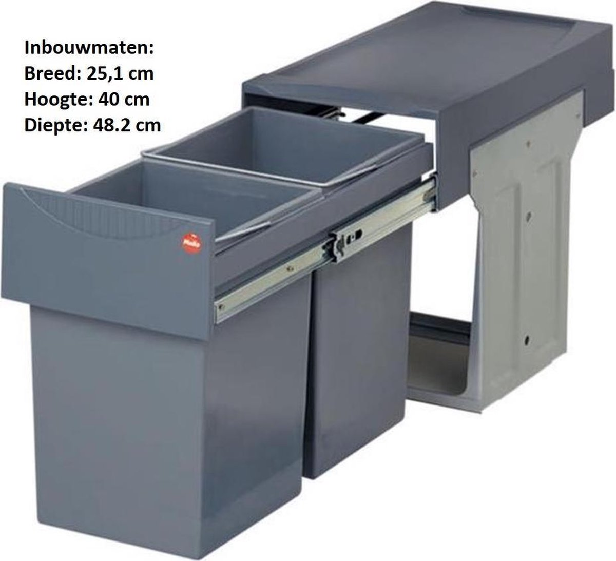 Hailo Tandem - Inbouw Prullenbak - 30 Liter Inhoud - Met 2 Compartimenten - Grijs