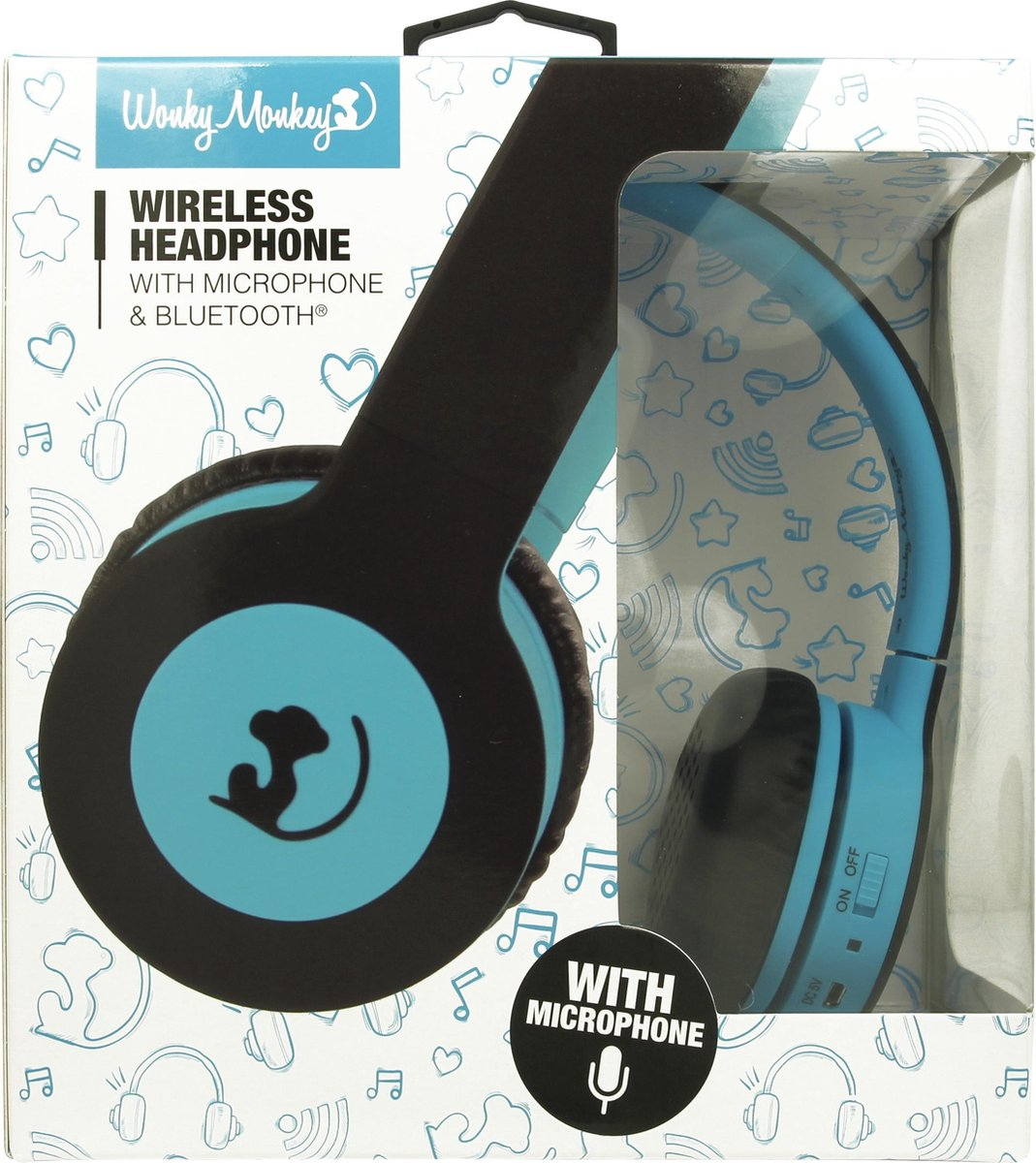 Wonky Monkey – Headset – Draadloos – Bluetooth – Koptelefoon – On ear – Over ear – Blauw