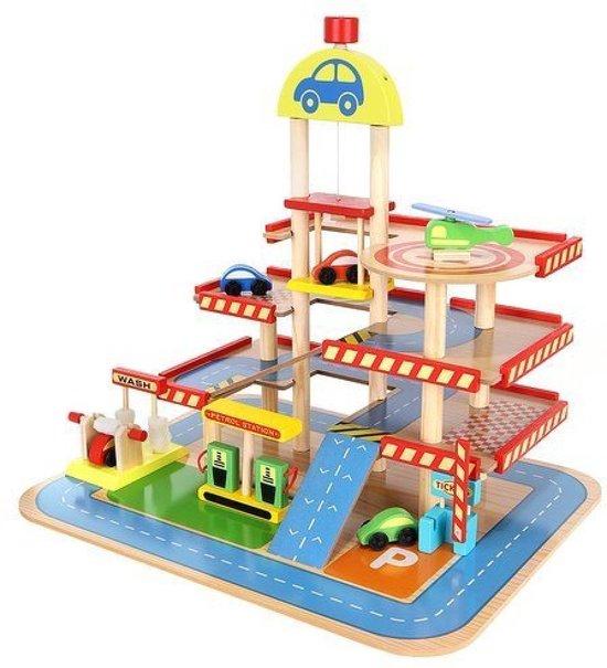 Afbeelding van Grote Houten Parkeergarage met Autowasstraat, Benzinestation, Lift, 4 Auto's en een Helicopter speelgoed