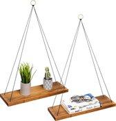 LifeGoods Hangende Wandplank Set - 2 Stuks - Nylon Koord - 3 Kleuren Metalen Ringen - Hout - Bruin