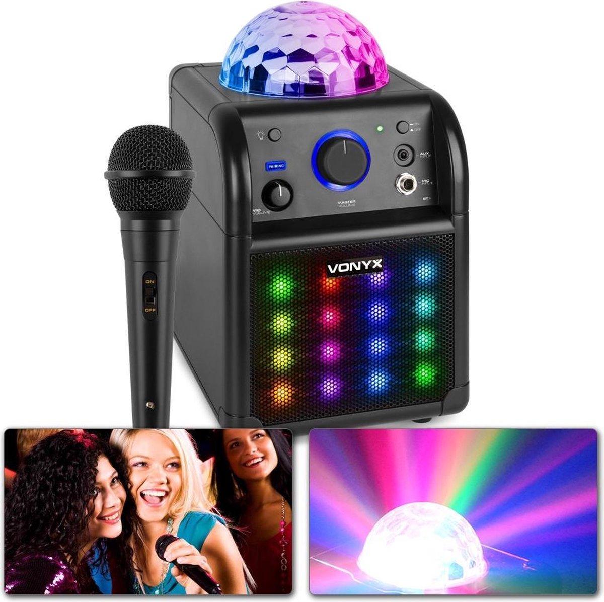 Karaoke set met microfoon - SBS50B-PLUS - Op accu - LED Discolampen aan voor- en bovenzijde - Blueto