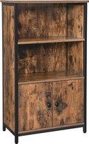 Nancy's Hutchinson Boekenkast - Vintage Houten Kast - Industriële Kasten - 2 Deuren - 60 x 32 x 104 cm (L x B x H)