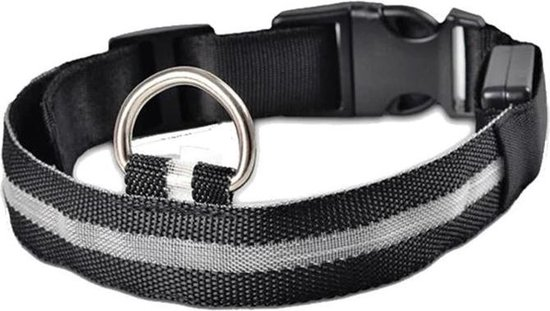 Halsband hond met LED licht - USB oplaadbaar - Hondenlamp - Leiband - Lichtgevend - Honden halsband - Katoen / metaal - Veiligheid - Maat S - Zwart / grijs / wit - 35 tot 43 cm - Inclusief laadkabel