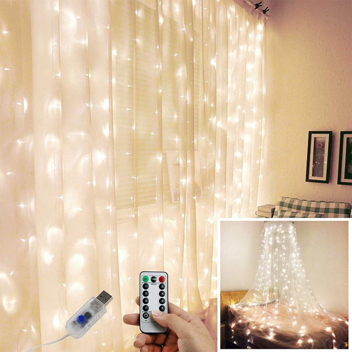 LED Kerstverlichting Lichtgordijn - 3 meter - Warm wit - 300 lichten  - Kerstverlichting  - Kerstdec