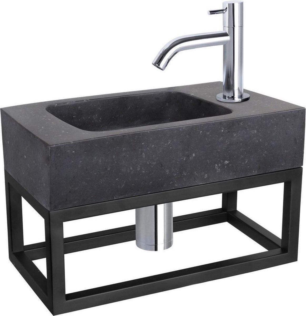 Differnz Fonteinset Bombai black - Natuursteen - Kraan gebogen chroom - Met handdoekrek - 40 x 22 x 9 cm