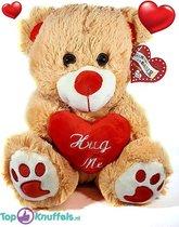 Lichtbruine Teddybeer met rood hart Hug Me 32 cm   knuffelbeer pluche knuffel  Ik Hou Van Jou / I Love You bear   Beertje met hart liefde rozenbeer   Rozen Beer met hartje 32cm   Valentijnsdag Cadeau / Valentines day Gift   Valentijn kado vrouw man