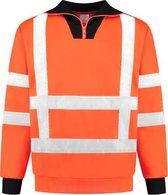 EM Traffic Zip sweater met col RWS - Fluor oranje - maat M