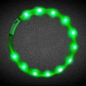 Siliconen halsband met licht - Honden halsband met licht - Halsband met licht - Led licht - Verlicht – USB kabel - Groen
