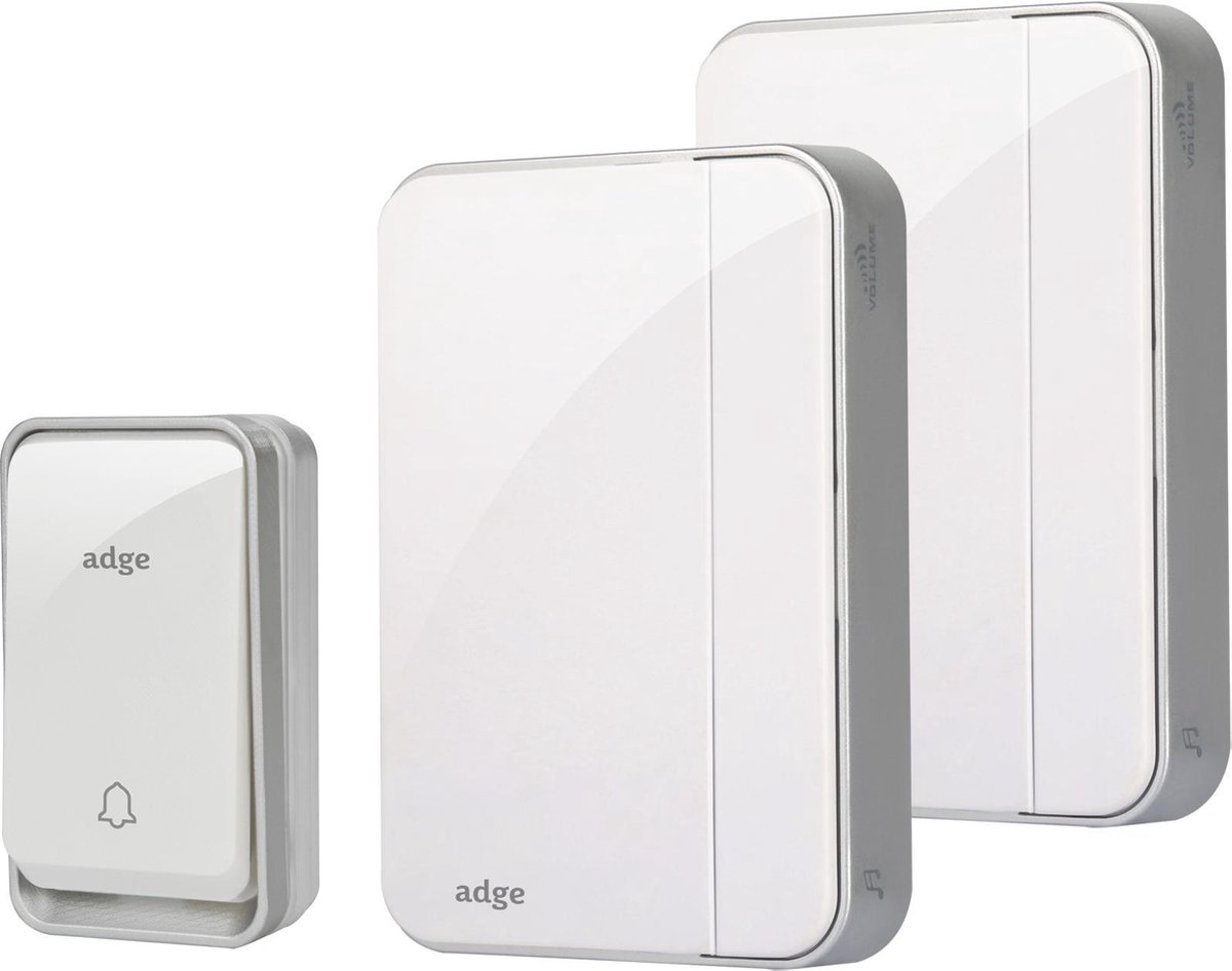 Adge - Draadloze Deurbel met 2 Ontvangers - Plug&Play - Regelbaar Volume / Melodie - Geen batterijen nodig
