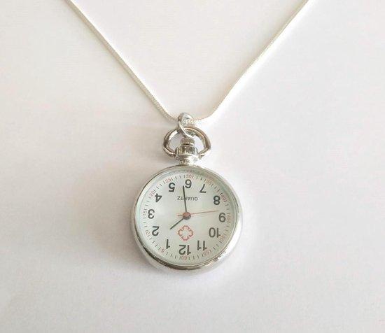 Stijlvol Ketting Horloge Groot Klokje – Dames – Zilverkleurig – 62 cm