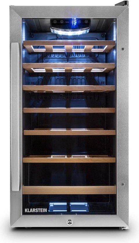 Koelkast: Vivo Vino wijnkoelkast 26 flessen 88 liter roestvrij staal LED, van het merk Klarstein