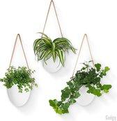 Gadgy Plantenhanger Keramiek – Set van 3 – Wit - Hangpotten – Hangende bloempot / plantenpot - Inclusief 3 verschillende koorden met opbergtasje – 12 x 11 x 9.5 cm